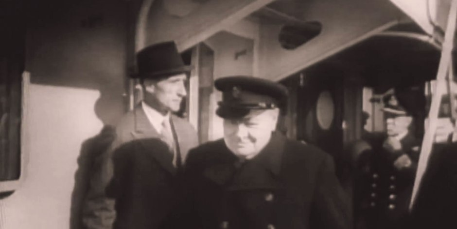 Winston Churchill on board the Queen Mary with his bodyguard, Walter Thompson